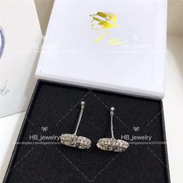 Popüler moda markası Yüksek sürüm Çift taraflı elmas küpe için bayan Tasarım Kadınlar Partisi Düğün Lüks Takı Gelin Whit KUTUSU ile .. nereden