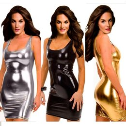 Wholesale women cat suits - Plus Size S-5XL Women Black Gold Silver Sexy Leather Dress Latex Club Wear Costumes Clothing PVC Lingerie Catsuits Cat Suits Sex Products
