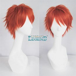 Wholesale Wigs Short Hair Red - Mystic messenger 707 cosplay wig Anime Red short straight wig with hair net Costumes