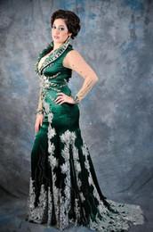 Vestidos de pavo dubai online-Esmeralda Verde árabe Kaftan vestidos de noche con mangas largas y apliques de encaje Satén Abaya Dubai turkey Chiffon prom Vestidos