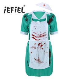 Infermiera calda cosplay online-Hot Adult Mens Surgery Doctor or Women Nurse Orribile sanguinosa Cosplay Scary Costume uniforme Suit Halloween Carnival Fancy Dress