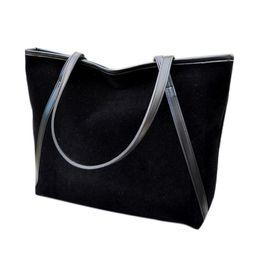 Wholesale Wholesale Suede Purses - Simple Winter Large Capacity Women Handbag Suede Top-handle Bag Shoulder Bag Tote Ladies Purse Casual Dropshipping #T