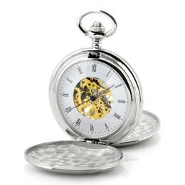 Wholesale Vintage Skeleton Automatic Watch - Silver Polished Skeleton Bronze Automatic Mechanical Pocket Watch Men Vintage Hand Wind Clock Necklace Pocket & Fob Watches Saat