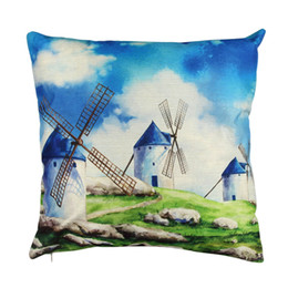 Wholesale Pillow Covers Country - 43x43CM New Country Windmill Design Pillow Cover Case Mat Cotton Linen Throw Square Pillowcases for Home Room Decoration