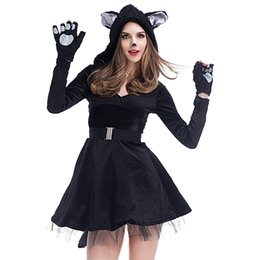 bear fancy dress Coupons - Halloween Black Bear Costume for Women Sexy Carnival Animal Cosplay Fancy Dress Cute Cat Stage Theme Costume