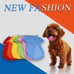 Wholesale Pink Blue Dog Collar - Wholesales 6 Solid Colors Dog Clothes Pets Dogs Breathful Cotton T-Shirt with Round Dog Collar Pet Supplies Dog Accessories