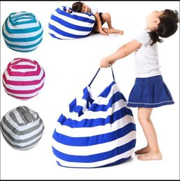 Wholesale Large Beans - Hot 4 Colors 18 inches Storage Bean Bags Kids Bedroom Stuffed Animal Dolls bag Plush Toys Large-capacity Spherical Tote bag