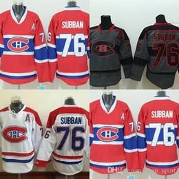 Wholesale Mens Clothing Logos - Hot Sale Mens Free Shipping Hockey Clothing Canadian Montreal Canadiens 76 P.K. Subban Red White Grey Embroidery Logos Ice Hockey Jerseys