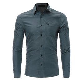 Wholesale europe style long sleeve blouses - Young Boy Club Blusa Gray Fashion Boys Outwear Blouse Europe Style Tide Pocket Shirts Turn-down Collar Cotton Tops Long Sleeve