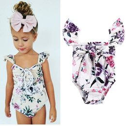 Wholesale Flying Outfits - Girls Romper Purple Flowers Flying Sleeves Jumpsuit Big Bow Floral Rompers Lace Edge Breathable Summer Clothes Outfit 6-18M