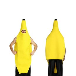 Discount carnival costume fruits - Halloween Cosplay Funny Banana Costume Men Adult Fruit Game Fantasia Clothing props Party Decorations Novelty Christmas Carnival