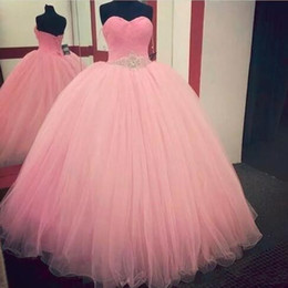 Wholesale Dresses Girl Age 12 - 2018 Adorable Baby Pink Quinceanera Dress Princess Puffy Ball Gown Sweet 16 Ages Long Girls Prom Party Pageant Gown Vestidos De 15 Anos