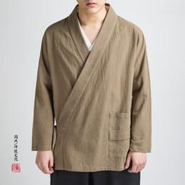 MIXCUBIC 2018 Otoño de estilo chino Chaqueta de lino de las cadenas de los hombres ocasionales sueltos ropa de lavado traje Tang hombres, M-4XL desde fabricantes