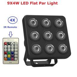 Panel dmx online-El más nuevo LED Show Panel Flat Par Light 9X4W RGBW / RGBUV 4IN1 DMX Luces de efecto de escenario Luces comerciales Disco DJ luces de fiesta