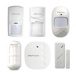 Alarmas para el hogar sensor magnético online-Wolf-Guard All Series PIR Door Magnetic Sensor Accessions Wireless 433MHZ PIR Sensor de movimiento Detector para Home Alarm Security Sistema de ladrón