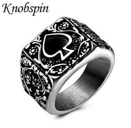 Loghi del motore online-Uomo Logo vendita calda d'acciaio di titanio Spades Anelli punk retrò Poker anelli per gli uomini Motor Biker Jewelry Size US 9-13 anel masculino