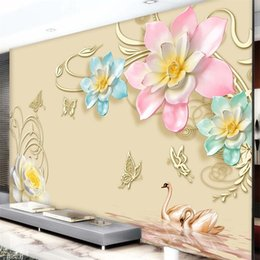 Wholesale Magnolia Wall - Custom Any Size Mural Wallpaper 3D Relief Purple Magnolia Bedroom TV Background Wall Paper Home Decor Living Room Wall Covering