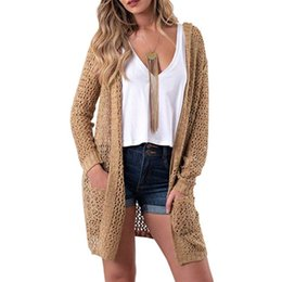 8544b11a63 Women Sweater Solid Hooded Pockets Plus Size Autumn Knitted Cardigans Loose  Soft Womens Female Pull Femme Cardigans Long Tops