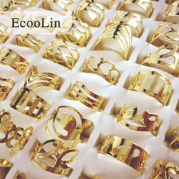 golden rings Coupons - Vintage Adjustable Golden Color Ring Lots Gypsy Mix Style Tattoo Finger Rings For Women Wholesale Jewelry BK129