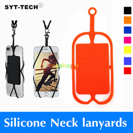 Wholesale Credit Card Holder Lanyard - Credit ID Card Bag Holder Silicone Lanyards Neck Strap Necklace Sling Card Holder Strap For iPhone X 8 7 Universal Mobile Cell Phone 50pcs