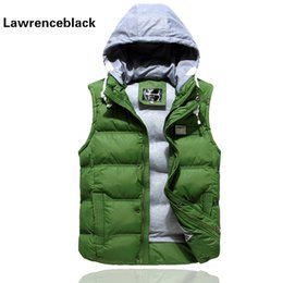 Wholesale Stylish Sleeveless Jackets - Casual Vests Mens Sleeveless Jacket Waistcoat Men Outerwears Hooded Man Coats Stylish Brand Autumn Winter Hood Warm Vest Men 629