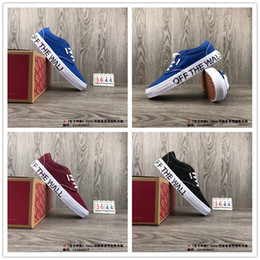 Wholesale Art For White Walls - 2018 VANS Old Skool Women Men Blue White Red off the wall Skateboard Casual Shoes for Sneakers Women's Sports Running Shoe 35-44