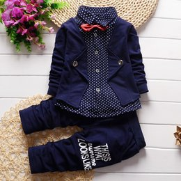 boys suits pink color Promo Codes - 2pcs Baby Boy Clothes Toddler Outfits Infant Tuxedo Formal Suits Set Shirt + Pants Spring Autumn Children Clothing Baby Boys Clothing Set