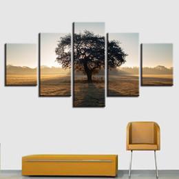 Pitture paesaggistiche online-HD Stampa Quadro Poster Quadro Soggiorno Home Decor 5 Pezzi Alberi alti Foresta Dipinti naturali Wall Art Scenery Immagini