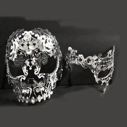 2019 máscara de máscara completa Homens Mulheres Casal de Metal de Prata Rosto Cheio de Metal Evil Máscara de Fantasma Do Crânio Venetian Cortar A Laser Masquerade Máscaras de Olho desconto máscara de máscara completa