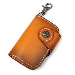 Wholesale Vegetable Tanning - ALAVCHNV first layer of leather retro key bag vegetable tanned leather keychain 8131