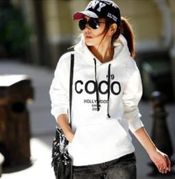 Argentina Envío gratis moda para mujer COCO letra impresa Casual Hoodies sudaderas calientes con sombrero 2 colores Suministro