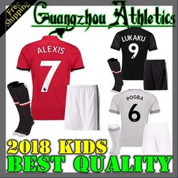 Wholesale Man Kids - 2017 2018 kids best Thai Quality home away 3rd jerseys 17 18 Ibrahimovic MEMPHIS ROONEY POGBA ALEXIS LUKAKU kids Soccer jersey