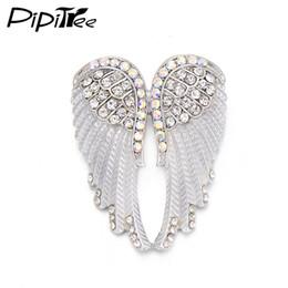 антикварные рождественские булавки Скидка Wholesale-Pipitree Fashion Vintage Angel Wings Brooch Pins Women Men's Jewelry Christmas Gift Antique Gold Color Rhinestone Brooches