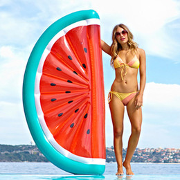 Wholesale outdoor plants - Inflatable Watermelon Float 180*90*20CM PVC Floating Watermelon Slice Summer Outdoor Swmming Pool Raft Fun Adults Kids Swim Party Toys
