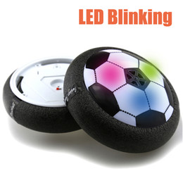 Wholesale Boys Items - New Creative 1Pcs Funny LED Light Flashing Arrival Air Power Soccer Ball Disc Indoor Football Toy Multi-surface Hovering And Gliding Toy