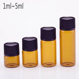 bouteille d'huile essentielle vis brune ambrée Promotion Échantillon Containe - Petite bouteille d'ambre en verre avec huile essentielle et capuchon à vis pour réducteur d'embrayage mini vide 1 ml 2 ml 3 ml 5 ml flacon brun