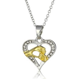 Wholesale Wholesale Costume Rhinestone Animal Jewelry - 2 Colors Peach Heart Elegant Mother Baby Hand In Hand Pendants Necklaces Women Personality Noble Costume Jewelry Mather's Day Gift For Women