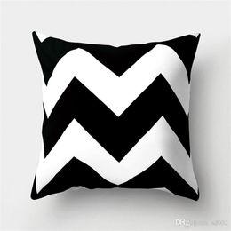 Простой стиль чехлы черный белый геометрия наволочка без ядра персик кожи кашемир диван-кровать Хэллоуин рождественские принадлежности 6md ii от