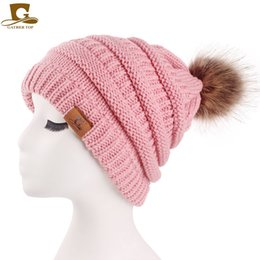 knitting bobbles Promo Codes - Lovely Womens Girls Slouchy Winter Knit  Beanie Hats Chunky Hat Bobble c9fb022cad