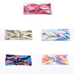 camouflage bandanas wholesale Promo Codes - New Europe Baby Hairband Camouflage Bunny Ear Knot Pattern Infant Headband Kids Headwear Children Hair Accessory 14001