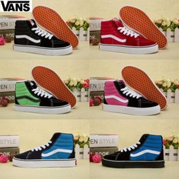 Wholesale plastic canvas kids - 2018 infant Vans Classic Kids Shoes Sk8-hi High Top Casual Boys Girls Canvas Old Skool Black White Red Casual Sports Sneakers 26-35