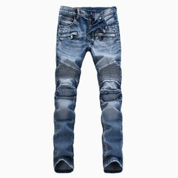 Привет q онлайн-Привет-Q 2017 мужчины классические джинсы колено драпировка панели Moto байкер джинсы размер 30-38
