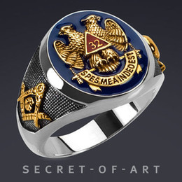 Deutschland 2019 New Fashion Eagle Herren Freimaurer AG Vergoldung Kupfer Chirstmas Ring Größe 8/9/10/11/12/13/14/15 cheap eagle gold rings for men Versorgung