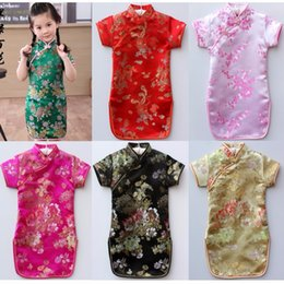 Wholesale Black Qipao Cheongsam - Floral Baby Qipao Girl Dress Chi-Pao Cheongsam New Year Gift Children Clothes Kids Dresses Girls clothing Wedding Princess Dress