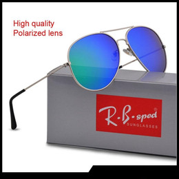 polarized sunglasses men Coupons - New Fashion Pilot Polarized Sunglasses for Men Women metal frame Mirror polaroid Lenses driver Sun Glasses with brown cases and box