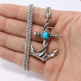 Wholesale boat steel - 2018 new stainless steel exquiste boat anchor pendant fashion 316l stainless steel men women jewelry Two-color stone