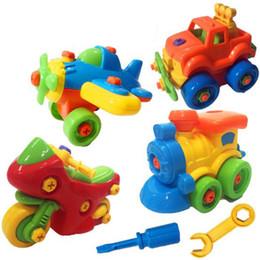 blocos de plástico para bebê Desconto Novas crianças kid baby diy desmontar maquinaria animais modelo de design brinquedos educativos blocos de construção de plástico chave de fenda carro toys