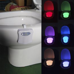 Wholesale 3d Lights - 8 Colors LED Toilet lamp Motion Activated Light Sensitive Dusk to Dawn Battery-operated Lamp lamparas 3d tooth closetool lamp