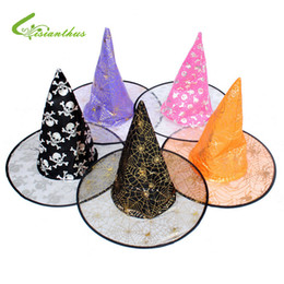 Wholesale Wizard Cap - Boy Girl Children Christmas Halloween Witch Hat Witch Wizard Peaked Cap Cosplay Suppliers Unisex Hats Cap Enchanter Stars