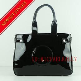 Wholesale bright leather bags - Hot fashion women famous brand MICHAEL KALLY bags luxury designer bag bright face patent leather shoulder tote bag large capacity handbags